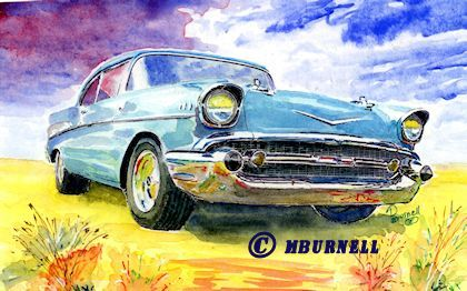 exceptional watercolor painting - 57 Chevy - focuspointshape.com