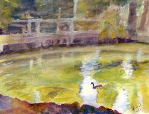 watercolor secrets with sable brushes study 1 - duck pond rhapsody kolinsky sable brush demonstration